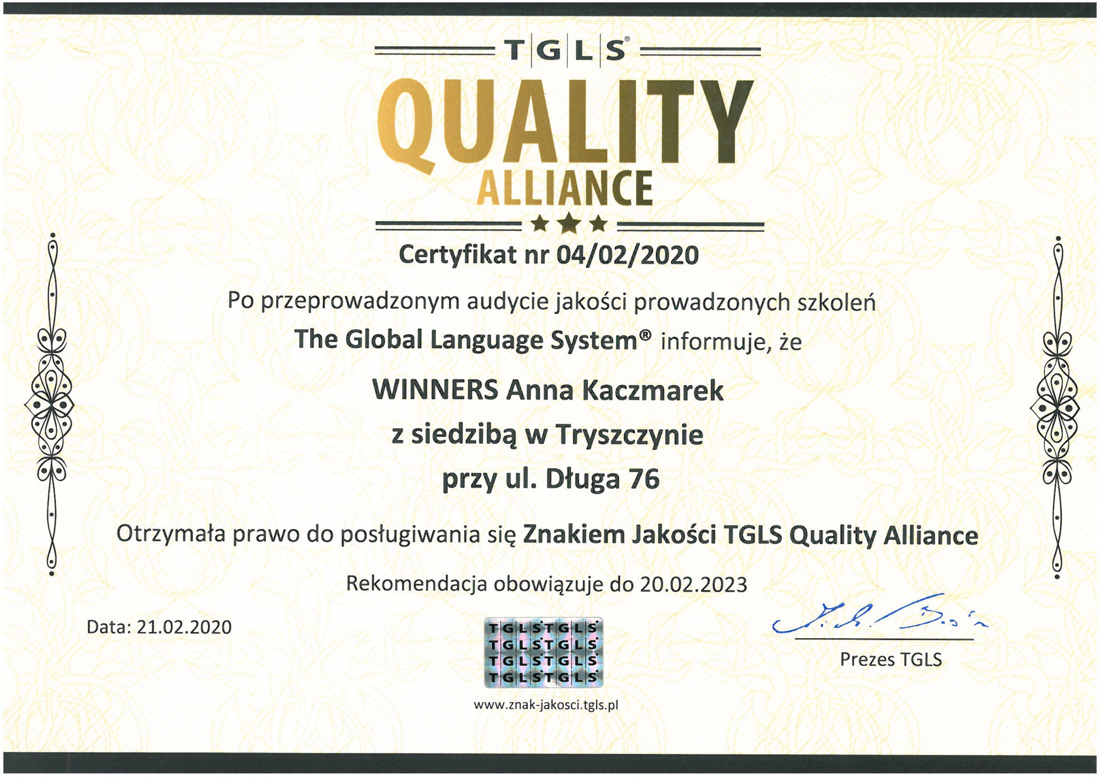 Certyfikat jakości usług szkoleniowych